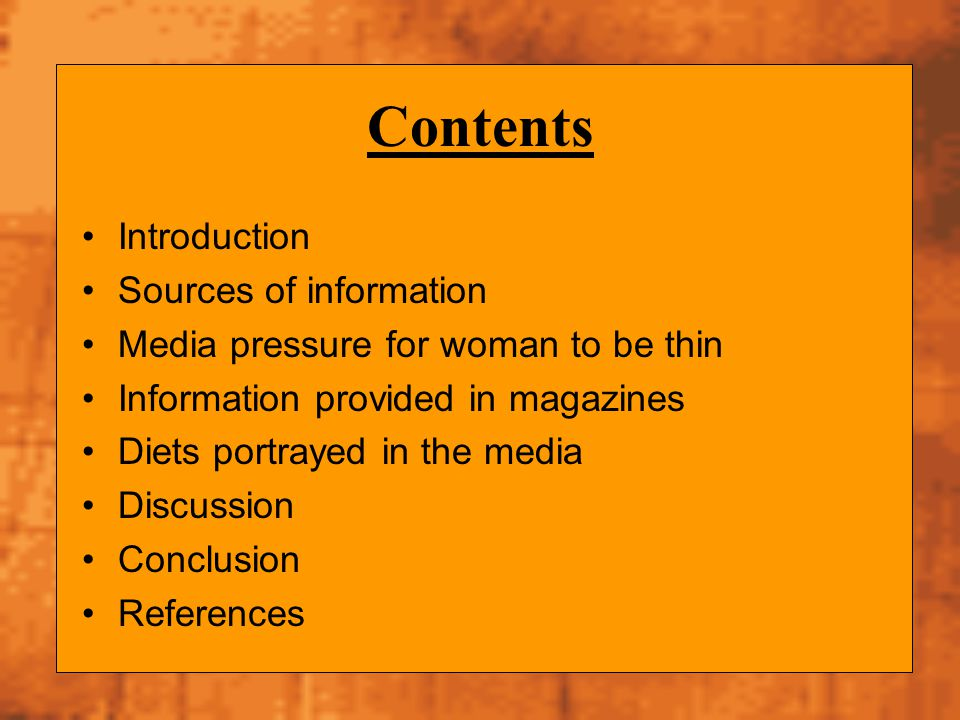 Contents Introduction Sources of information
