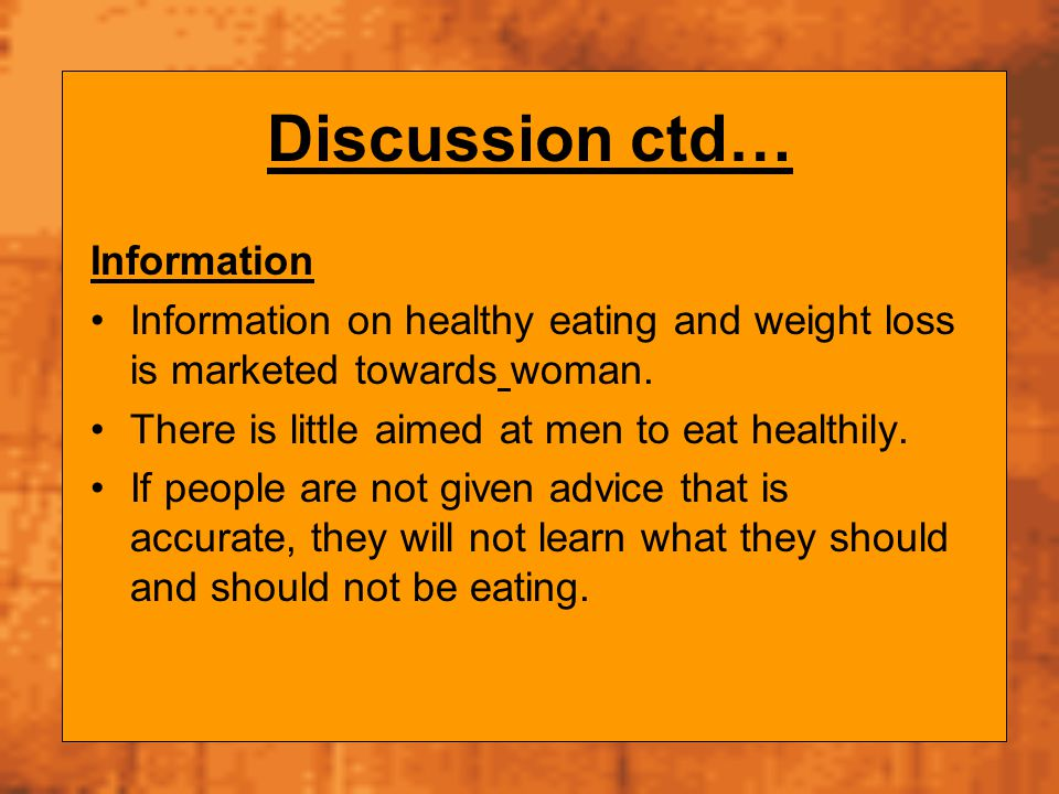 Discussion ctd… Information
