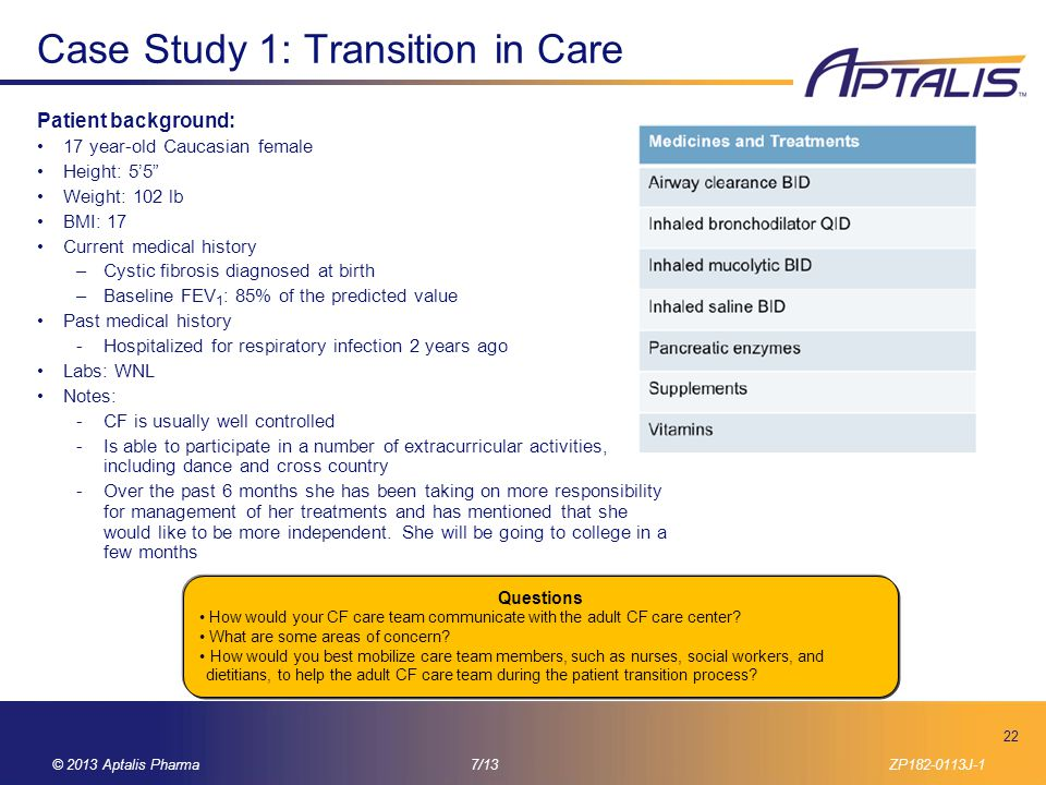 Case Study 1: Transition in Care