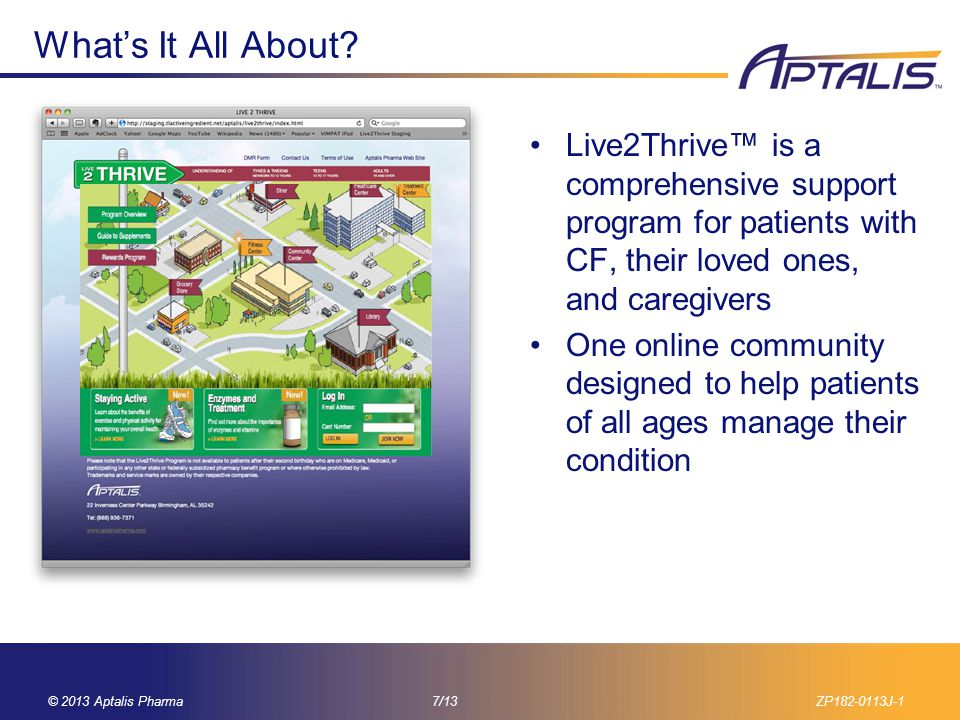 What's It All About Live2Thrive™ is a comprehensive support program for patients with CF, their loved ones, and caregivers.