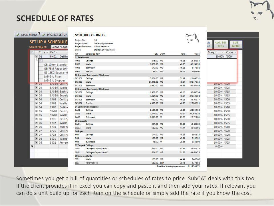 Schedule of Rates Master