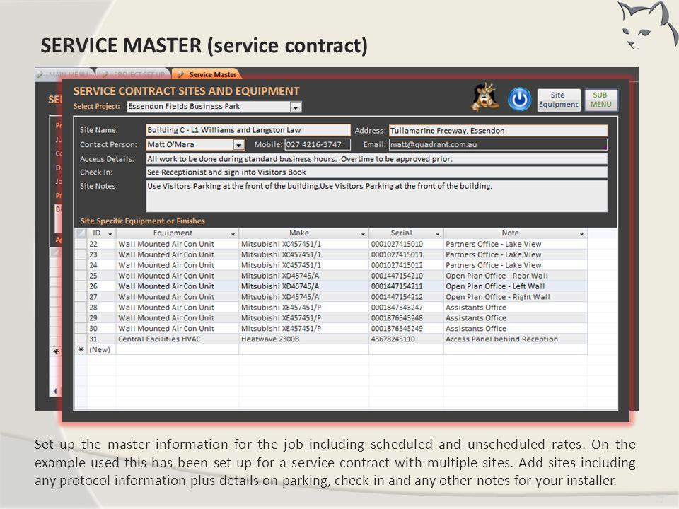 SERVICE MASTER (service contract)