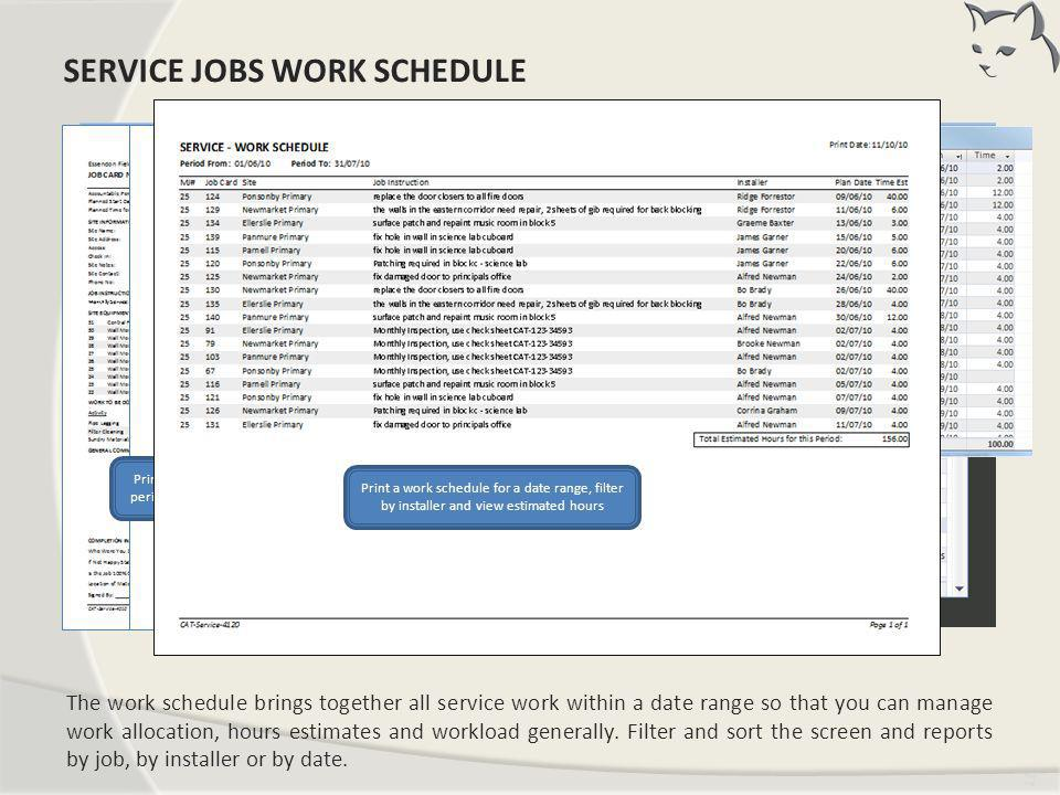Service Jobs Work Schedule