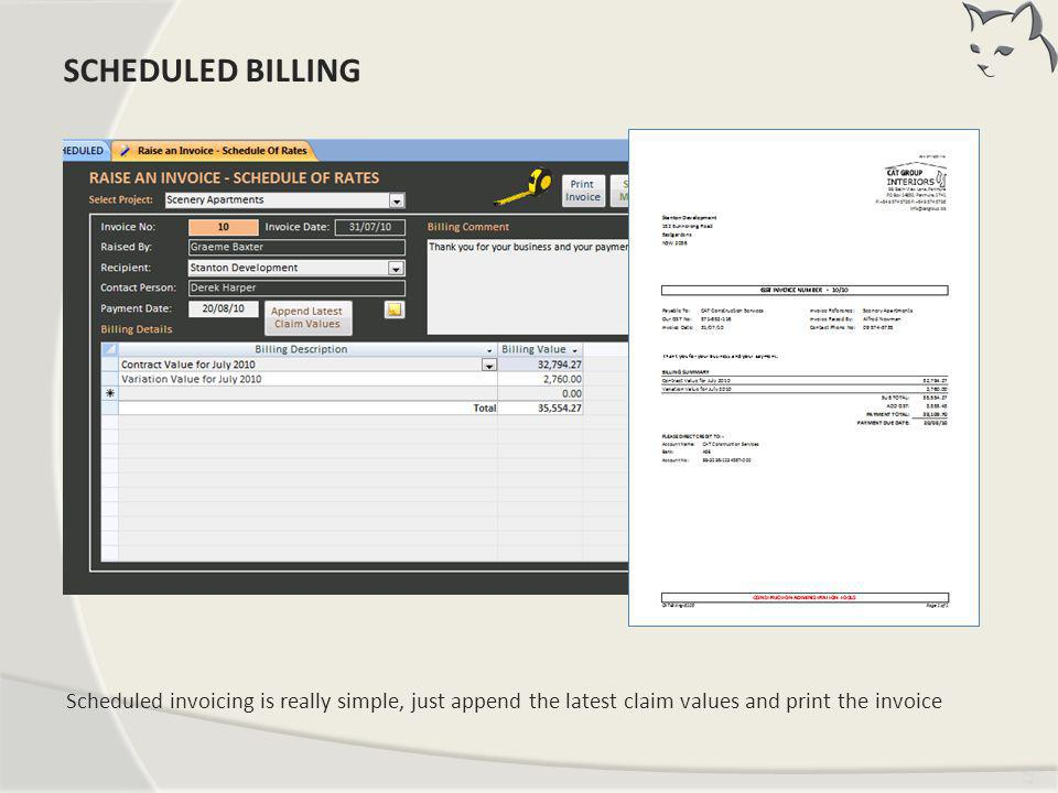 Scheduled Billing SCHEDULED BILLING