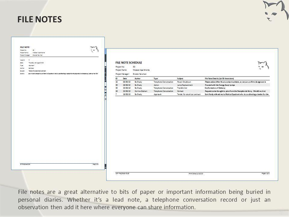 File Notes FILE NOTES.