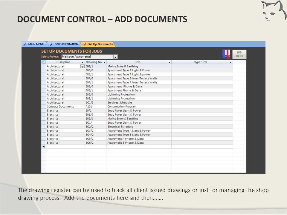 Document Control – Add Documents