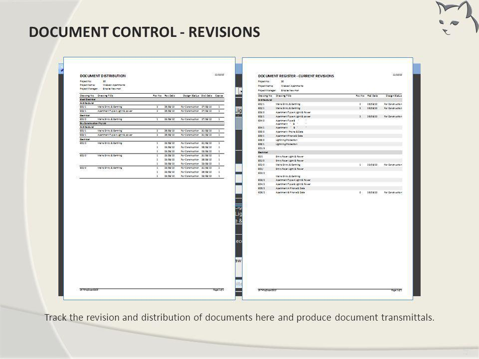 Document Control – Revisions
