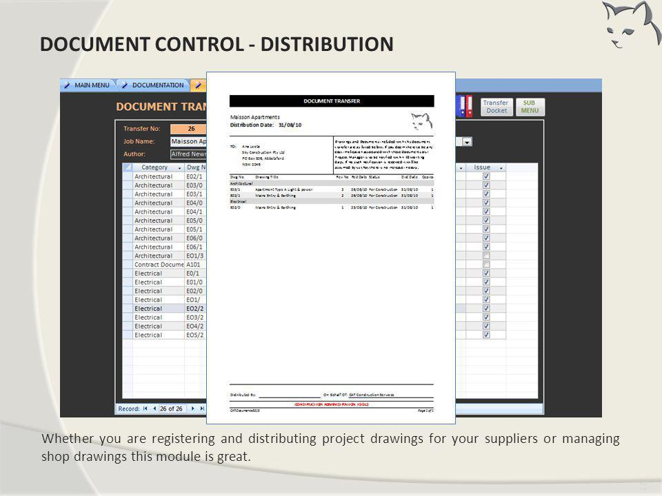 Document Control – Distribution