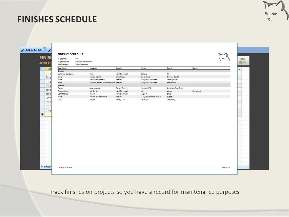 Finishes Schedule FINISHES SCHEDULE