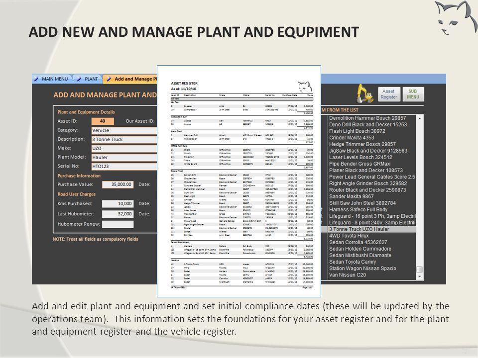 Add New and Manage Plant and Equipment