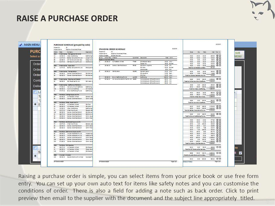 Raise a Purchase Order RAISE A PURCHASE ORDER