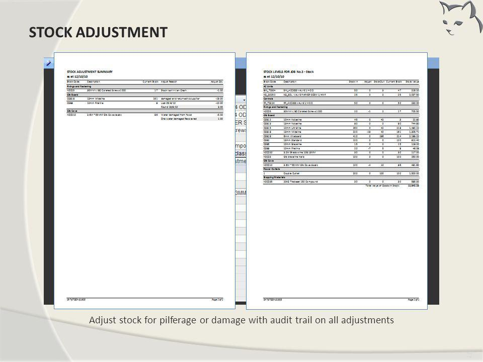 Stock Adjustment STOCK ADJUSTMENT