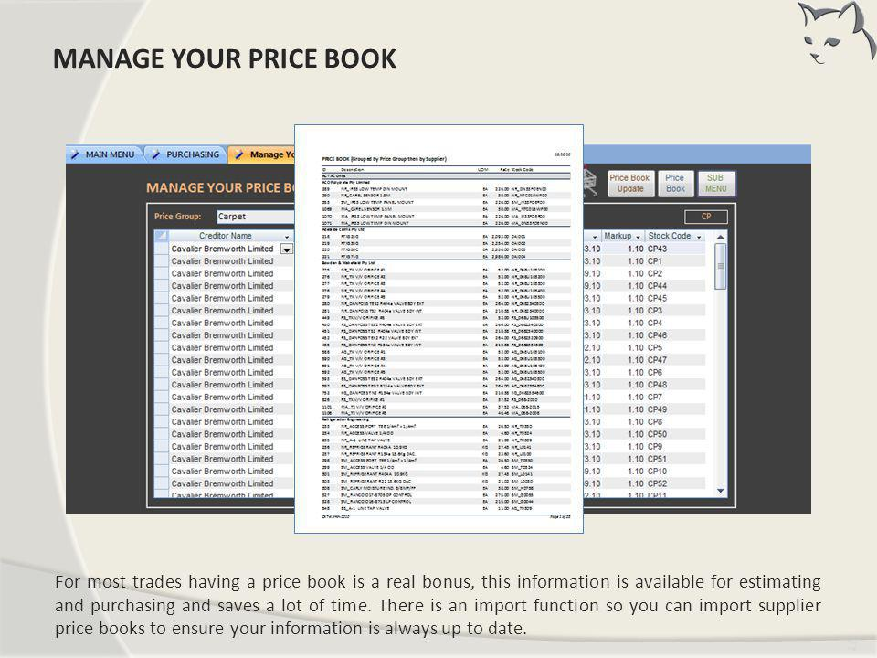 Manage Your Price Book MANAGE YOUR PRICE BOOK