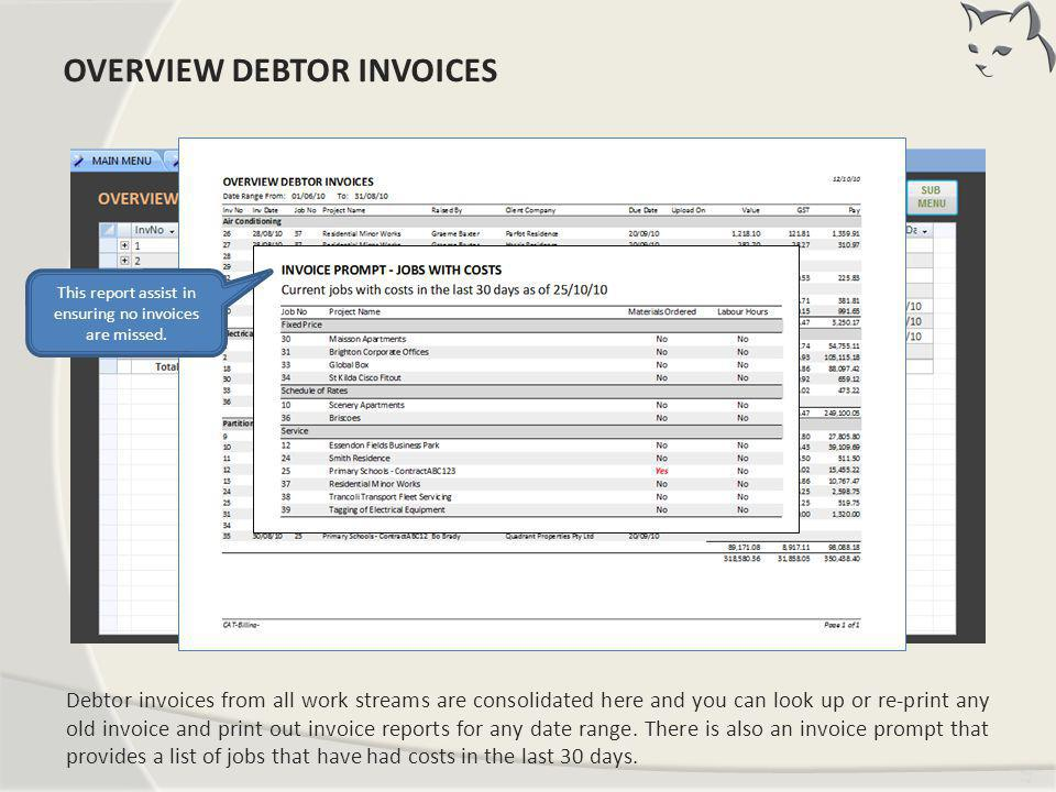Overview Debtor Invoices