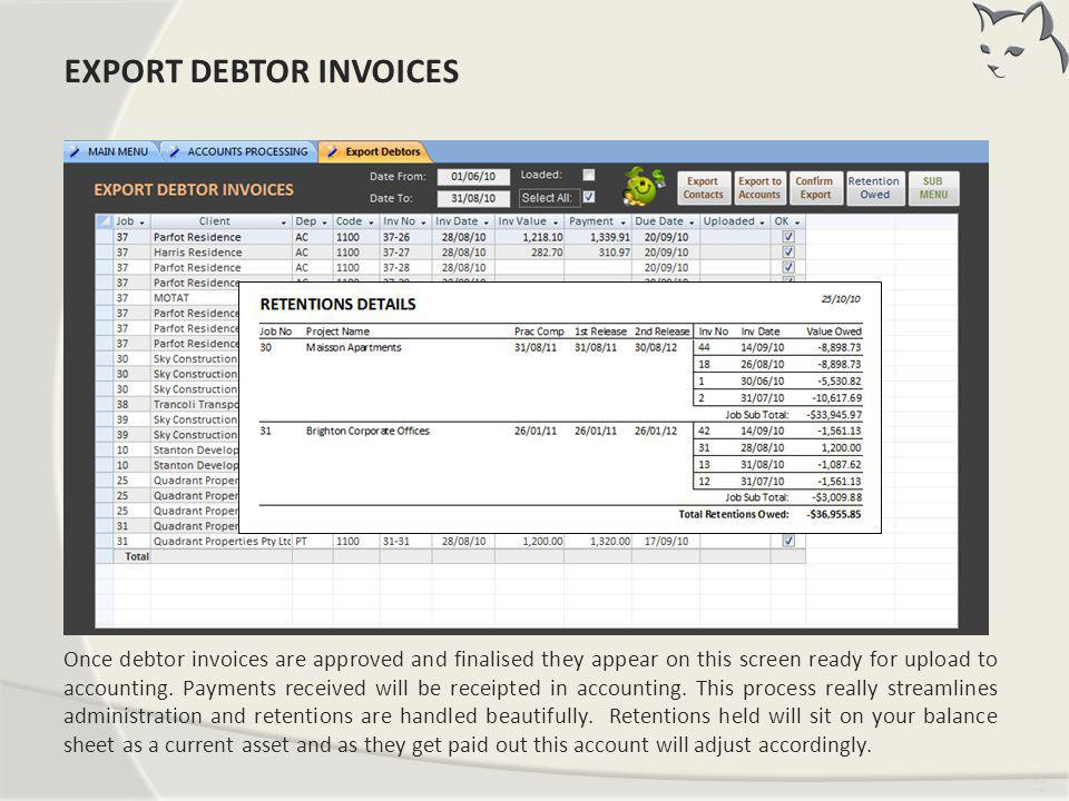 Export Debtor Invoices