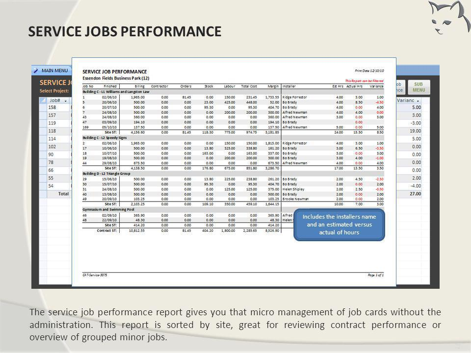 Service Jobs Performance