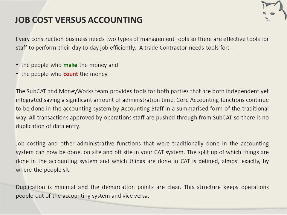 JOB COST V's ACCOUNTING