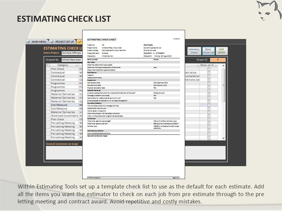 Estimating Check List ESTIMATING CHECK LIST