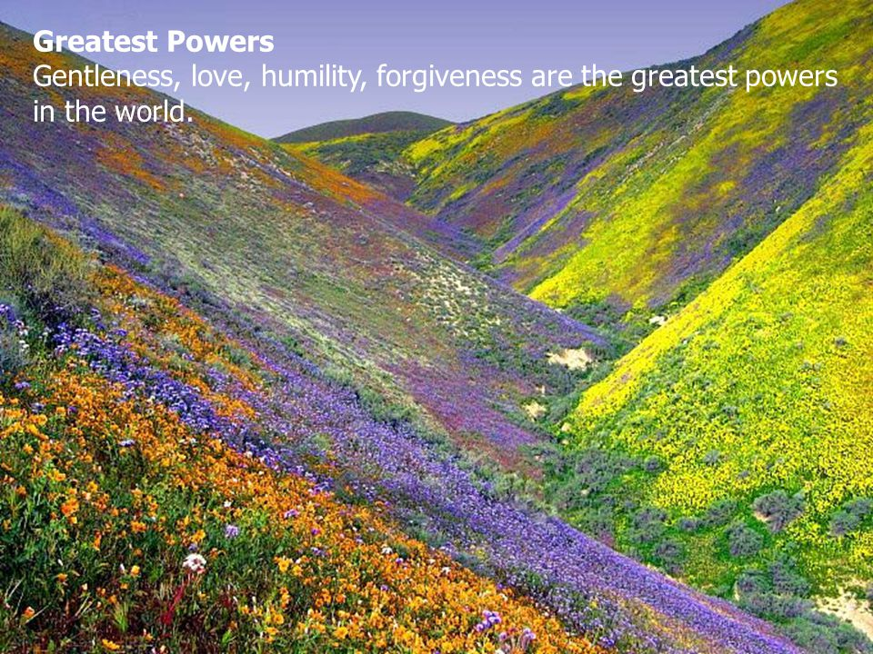 Greatest Powers Gentleness, love, humility, forgiveness are the greatest powers in the world.