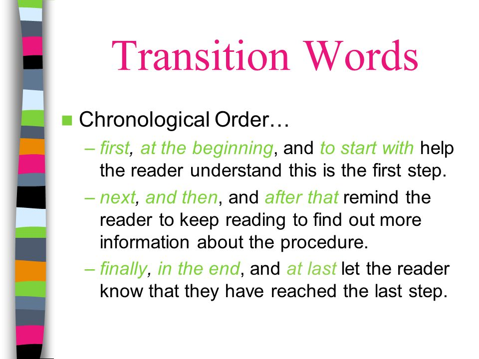 Transition Words Chronological Order…