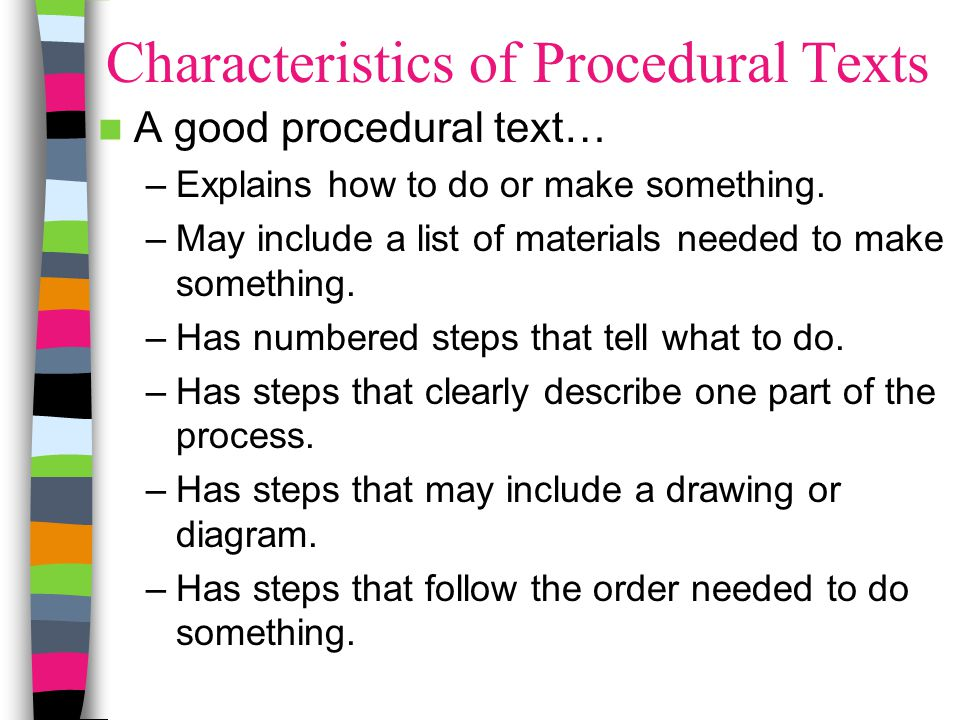 Characteristics of Procedural Texts