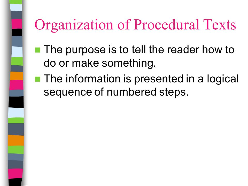 Organization of Procedural Texts