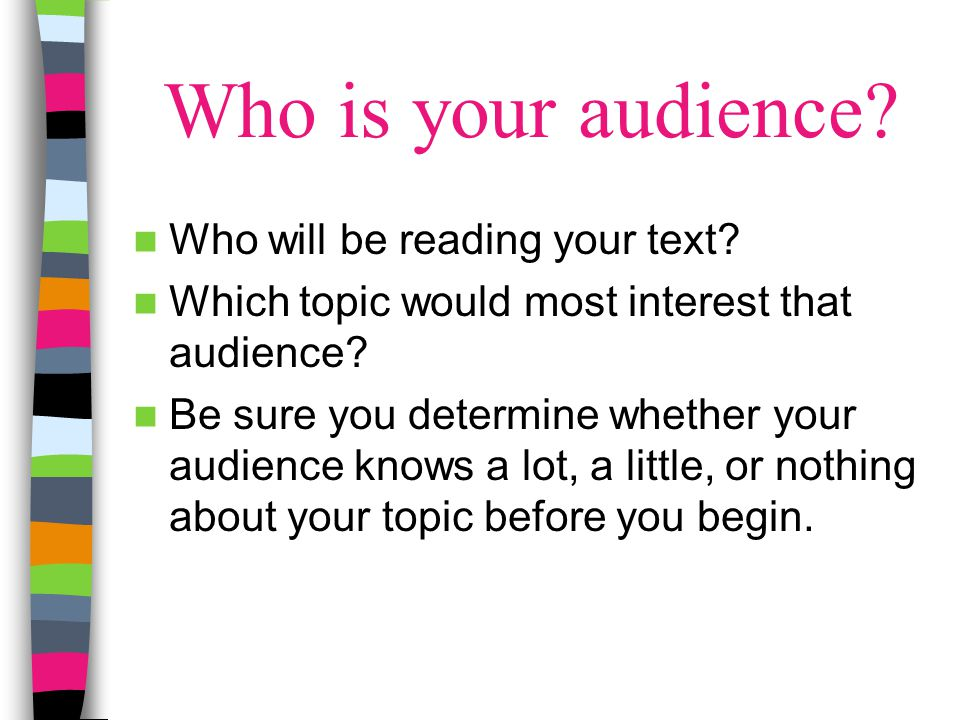 Who is your audience Who will be reading your text