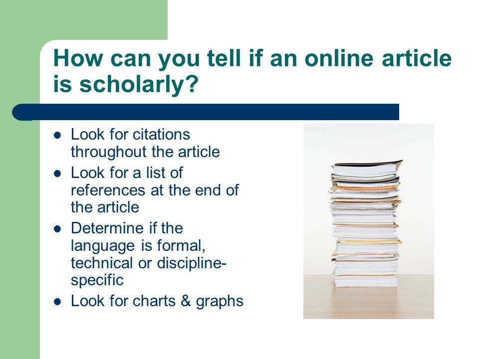 How can you tell if an online article is scholarly
