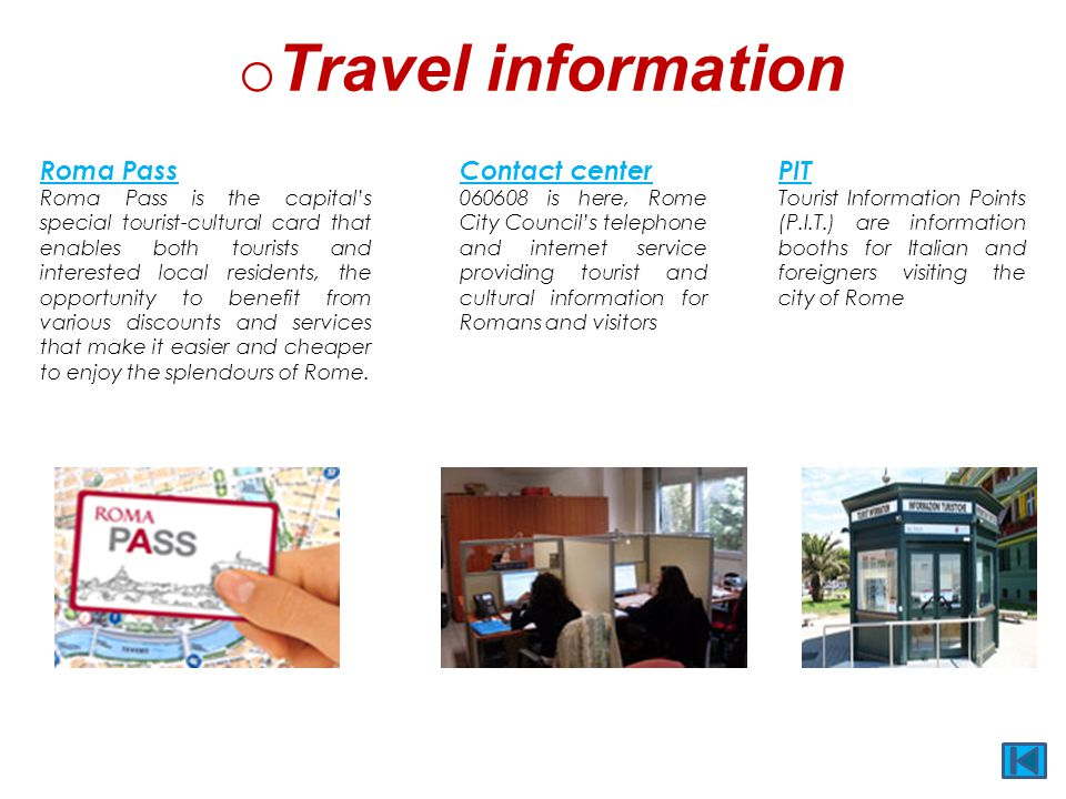 Travel information Roma Pass Contact center PIT