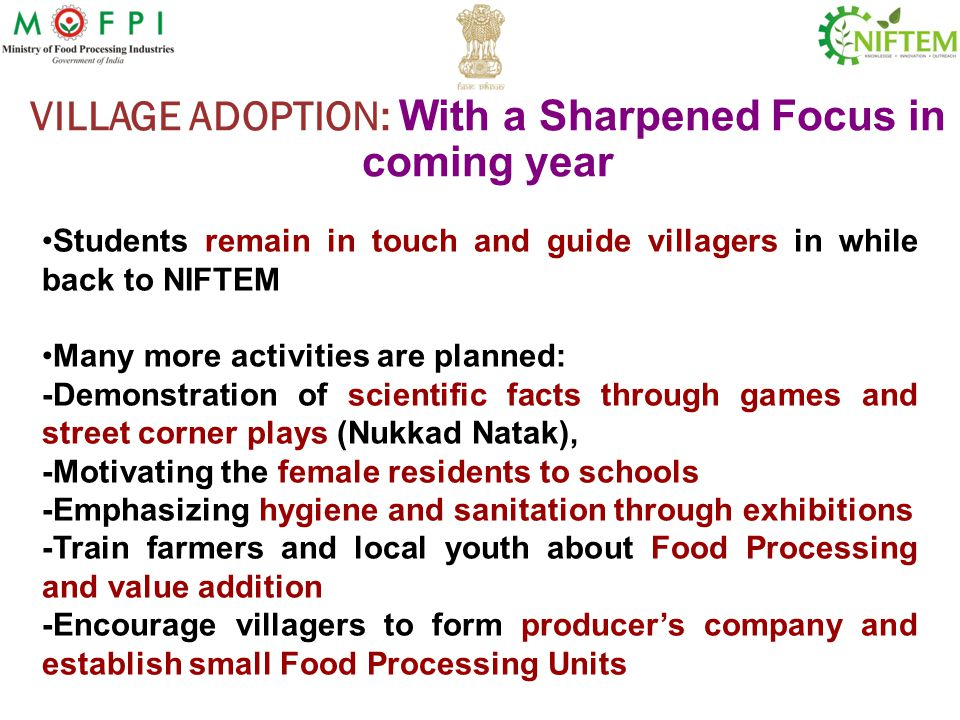 VILLAGE ADOPTION: With a Sharpened Focus in coming year