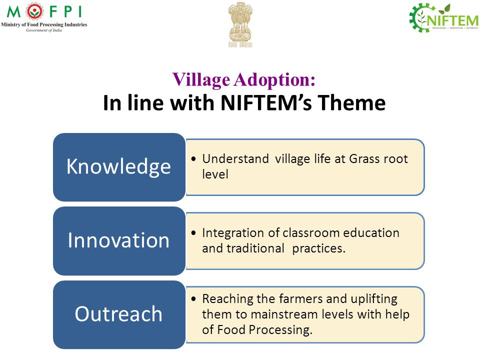 Village Adoption: In line with NIFTEM's Theme