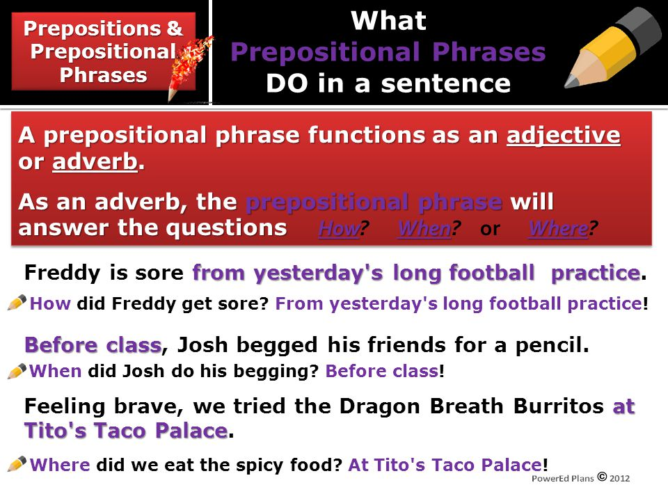 What Prepositional Phrases DO in a sentence