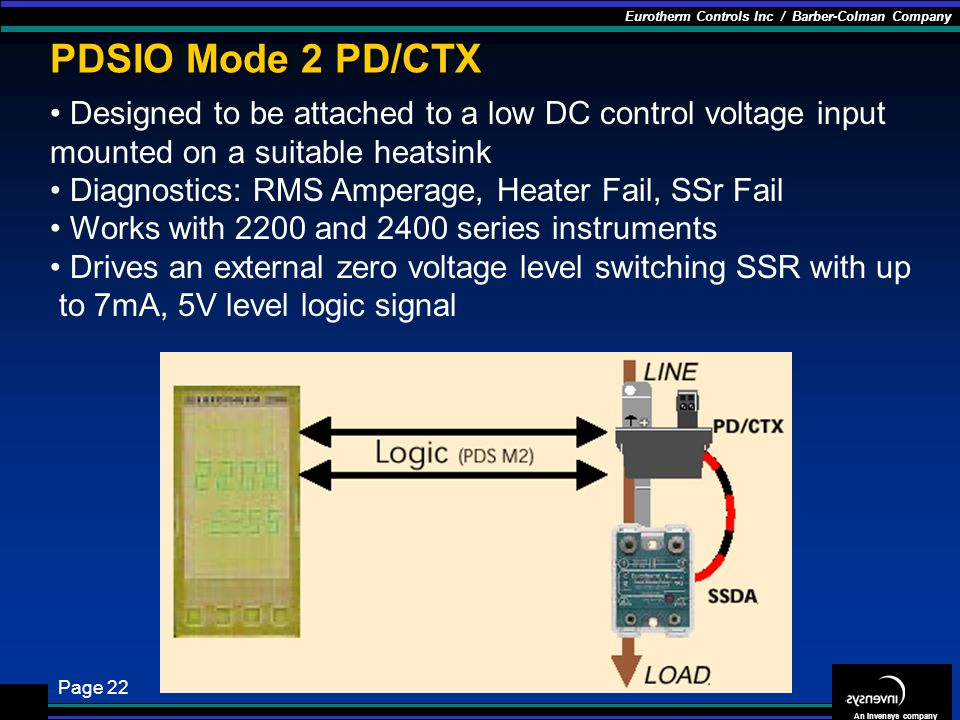 PDSIO Mode 2 PD/CTX Designed to be attached to a low DC control voltage input mounted on a suitable heatsink.