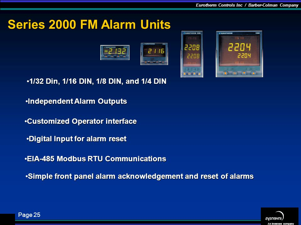 Series 2000 FM Alarm Units 1/32 Din, 1/16 DIN, 1/8 DIN, and 1/4 DIN