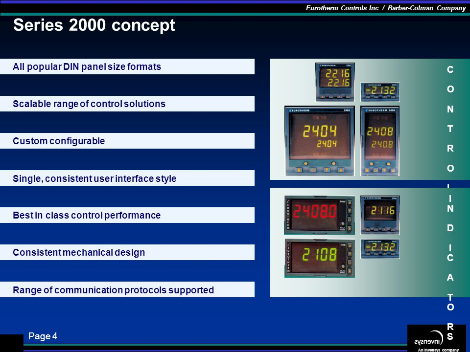 Series 2000 concept All popular DIN panel size formats