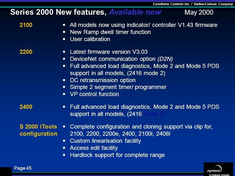 Series 2000 New features, Available now May 2000