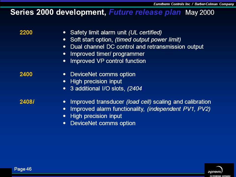 Series 2000 development, Future release plan May 2000