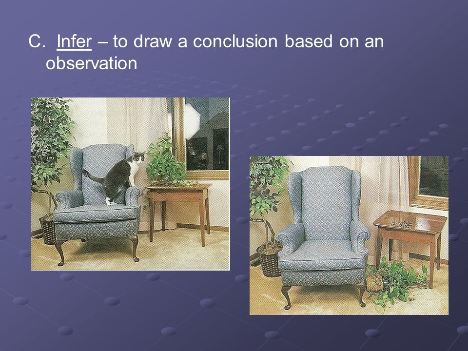 C. Infer – to draw a conclusion based on an observation