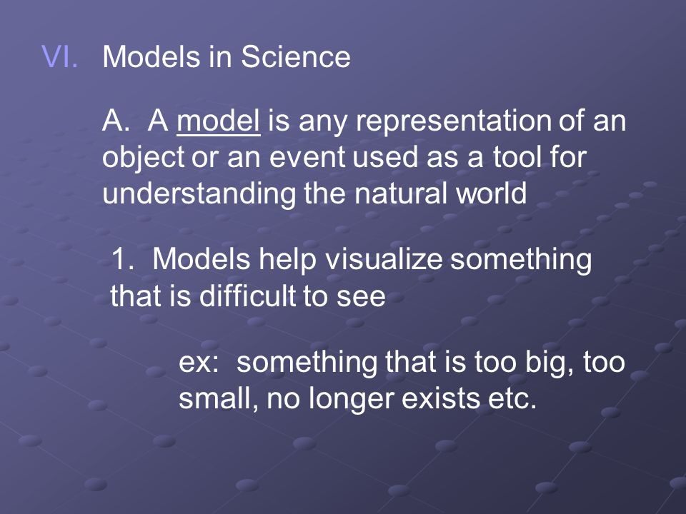 Models in Science A. A model is any representation of an object or an event used as a tool for understanding the natural world.
