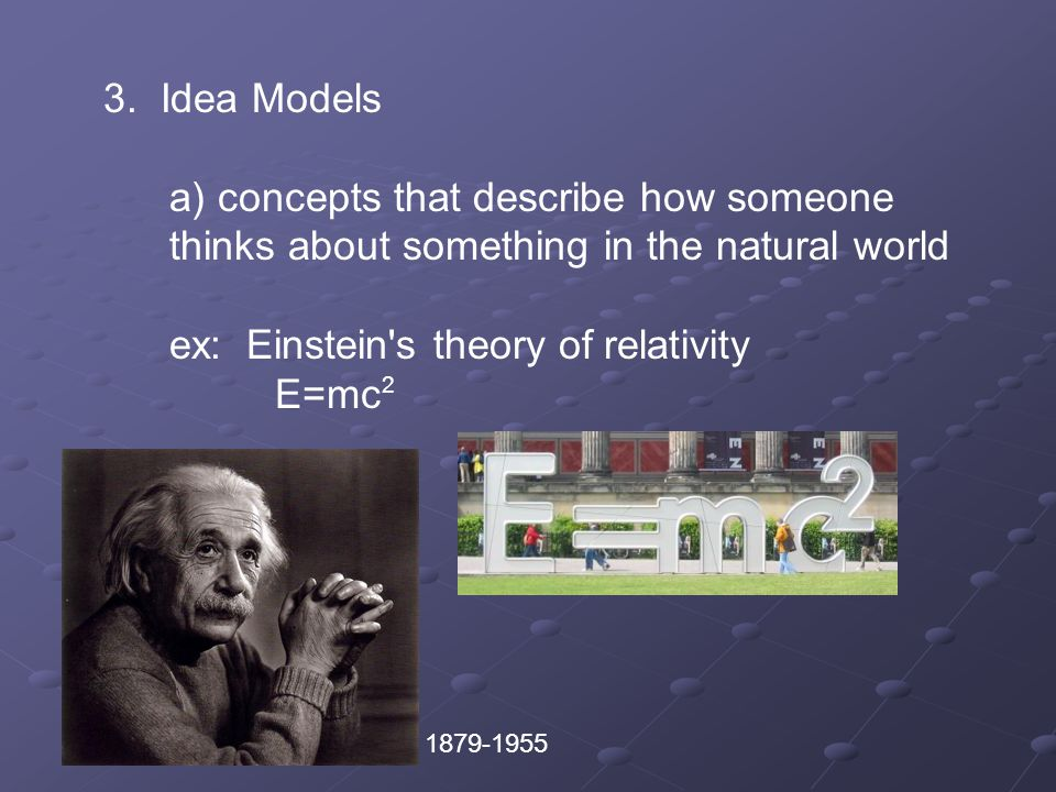 3. Idea Models. a) concepts that describe how someone