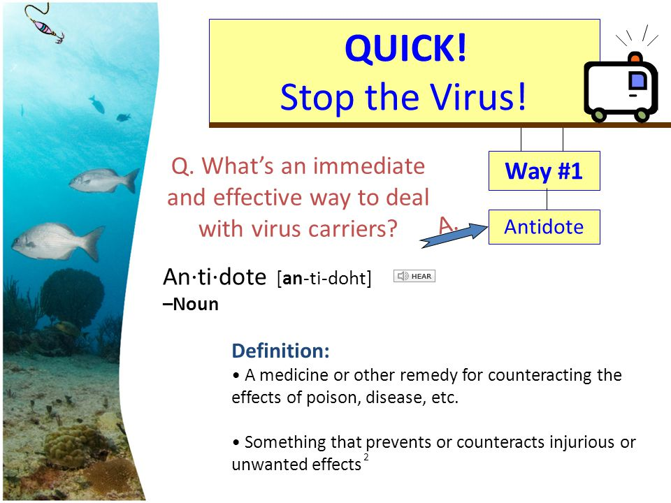 Q. What's an immediate and effective way to deal with virus carriers