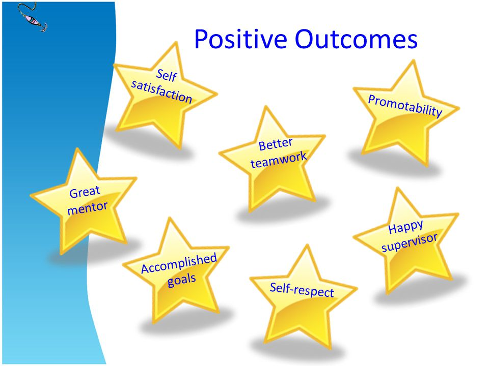 Positive Outcomes Self satisfaction Promotability Better teamwork