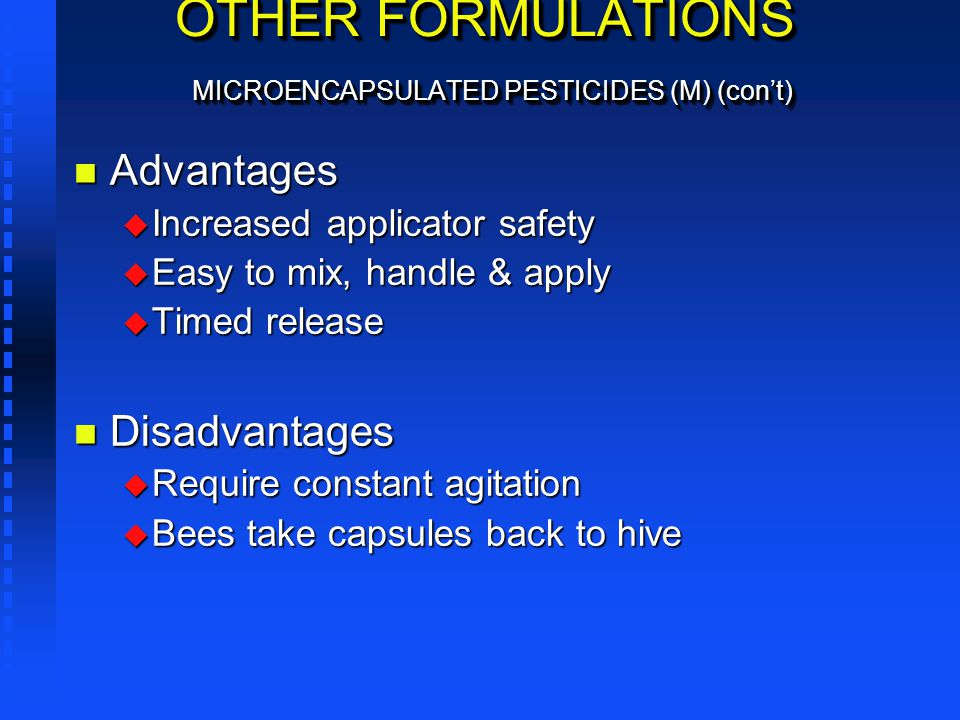 OTHER FORMULATIONS MICROENCAPSULATED PESTICIDES (M) (con't)