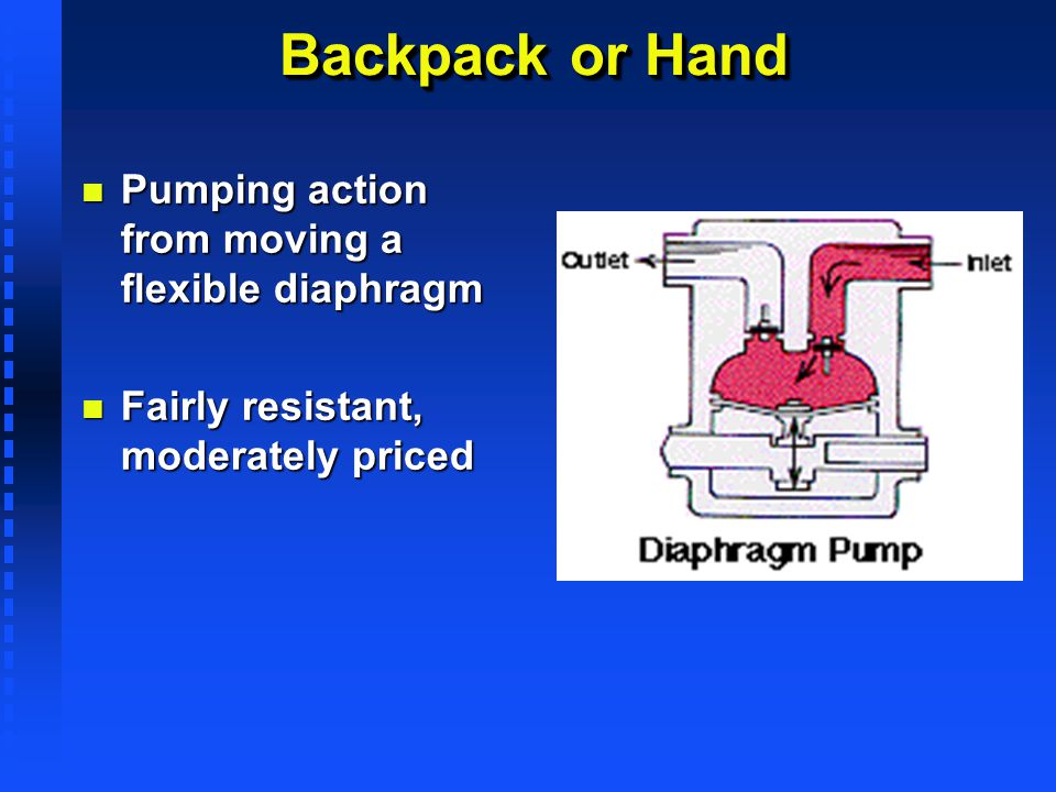 Backpack or Hand Pumping action from moving a flexible diaphragm