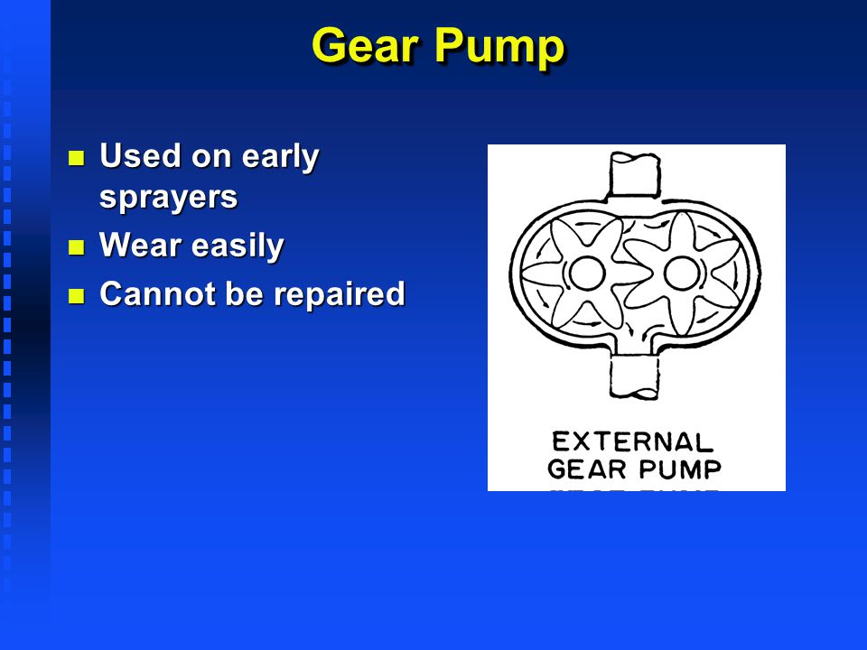 Gear Pump Used on early sprayers Wear easily Cannot be repaired