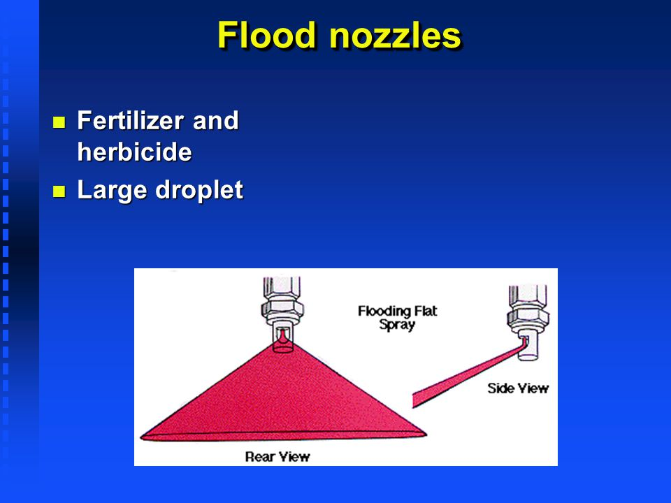 Flood nozzles Fertilizer and herbicide Large droplet