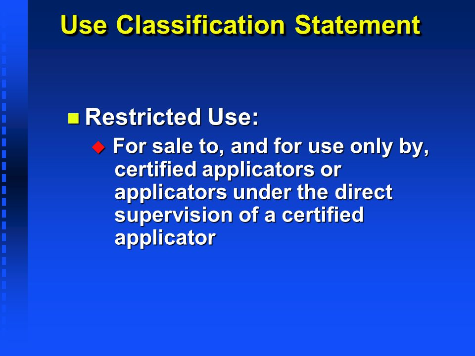 Use Classification Statement