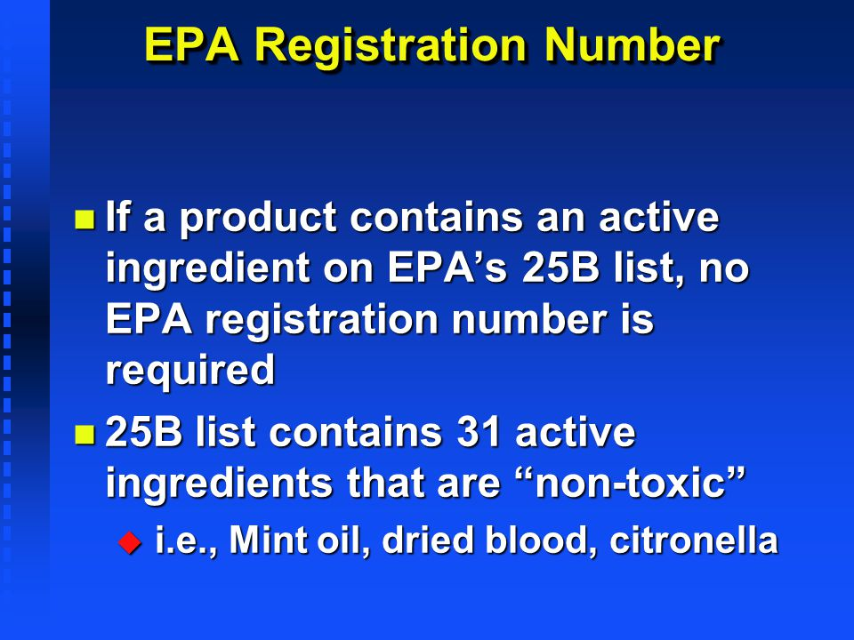 EPA Registration Number
