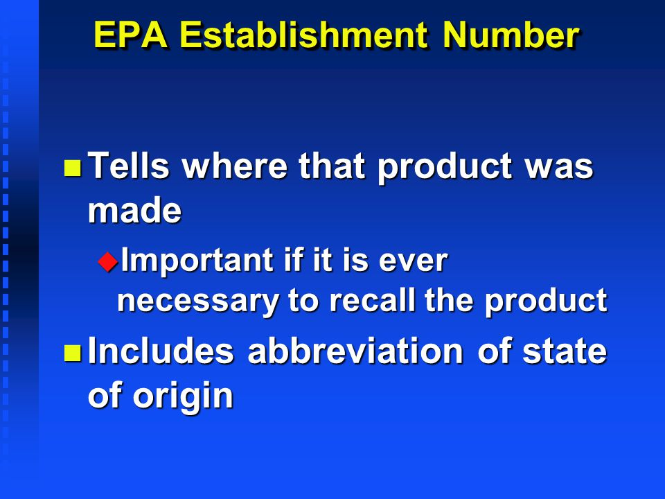 EPA Establishment Number