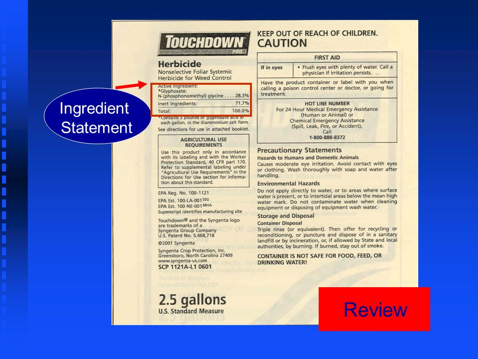 Review Ingredient Statement